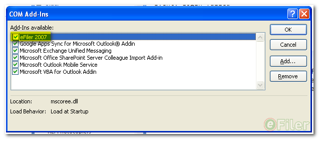 Enable Com Add-Ins in Outlook 2007