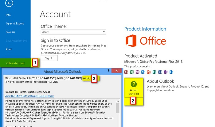 How to tell office 2013 64bit or 32bit