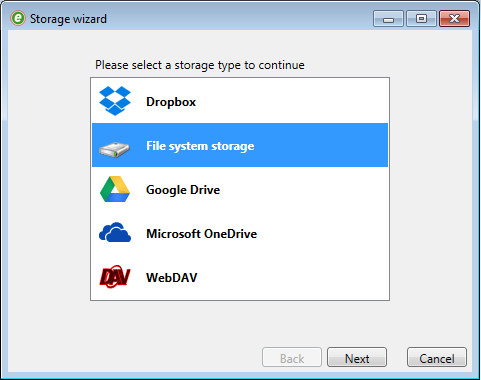 eFiler Storage Wizard